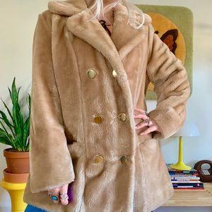 Vintage mod 1970s faux fur pea coat XL